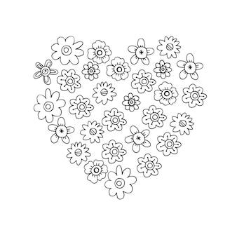 Doodle flores pretas em forma de coração em um fundo branco