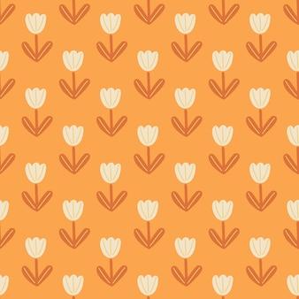 Doodle flores tulipa branca molda o padrão sem emenda no estilo desenhado à mão.