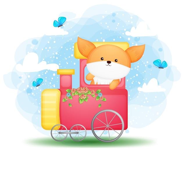 Doodle fofinho bebê raposa dirigindo um personagem de desenho animado de trem