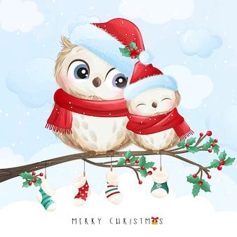 Doodle fofinho coruja para o dia de natal com ilustração em aquarela