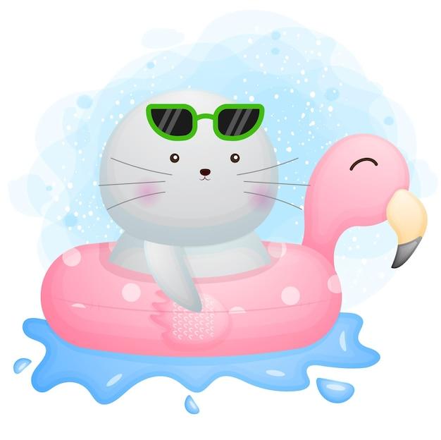 Doodle fofinho de morsa com um personagem de desenho animado de bóia de flamingo