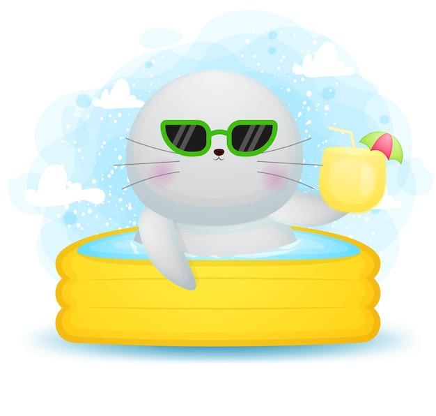 Doodle fofinho de morsa em personagem de desenho animado de piscina