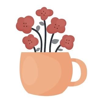 Doodle fofinho flores abstratas em uma xícara de laranja. planta de cerâmica aconchegante. ilustração em vetor plana