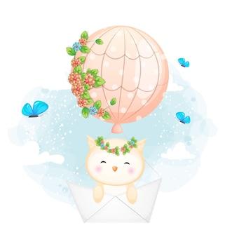 Doodle fofo bebê coruja voando com barquinho de papel