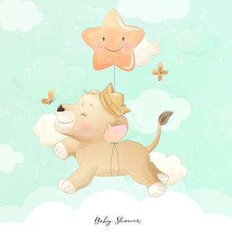 Doodle fofo bebê leão com ilustração em aquarela