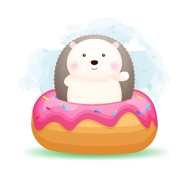 Doodle fofo bebê ouriço dentro de uma rosquinha