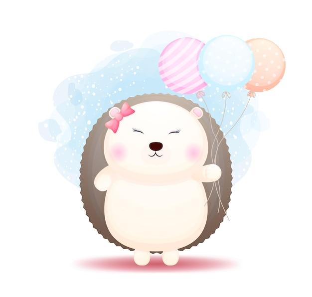 Doodle fofo bebê ouriço segurando balões de desenho animado