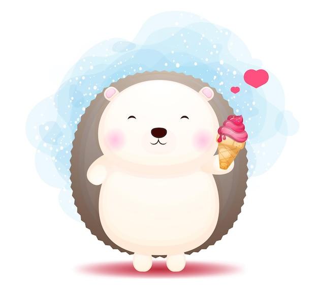 Doodle fofo bebê ouriço segurando e amando o personagem de desenho animado de sorvete