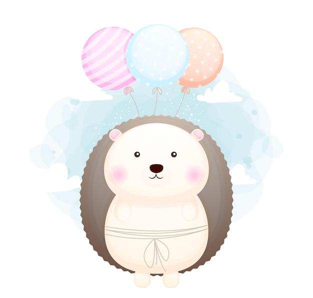 Doodle fofo bebê ouriço voando com balões de personagem de desenho animado