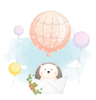 Doodle fofo bebê ouriço voando com barco de papel