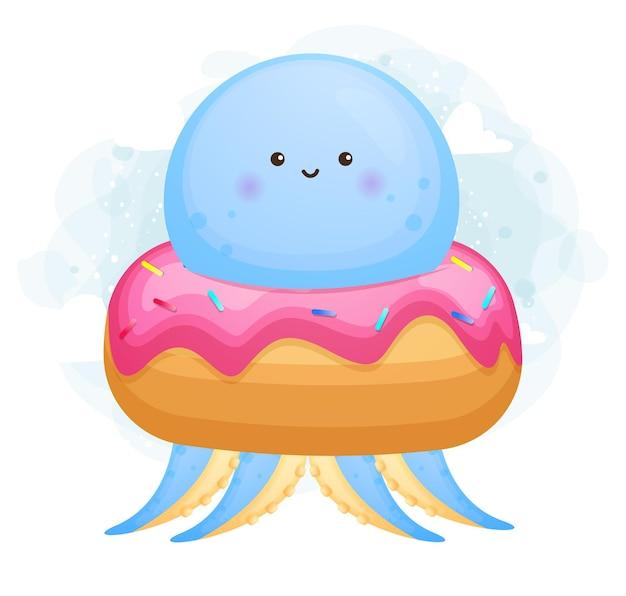Doodle fofo bebê polvo dentro de uma sobremesa
