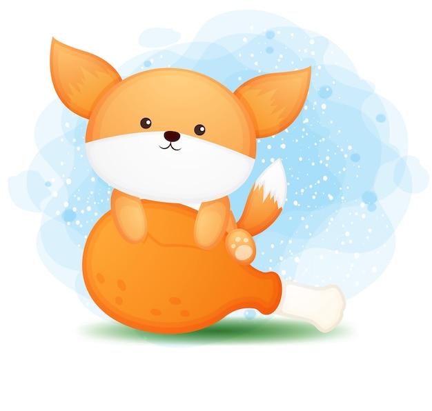 Doodle fofo bebê raposa atrás de um grande personagem de desenho animado de frango frito