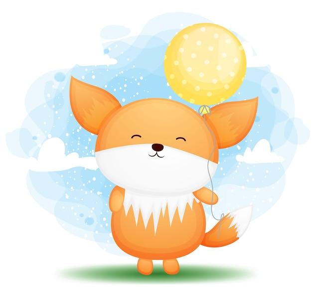 Doodle fofo bebê raposa segurando o personagem de desenho animado de balão