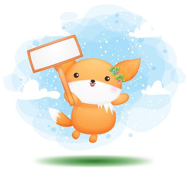 Doodle fofo bebê raposa segurando uma placa de sinalização personagem de desenho animado