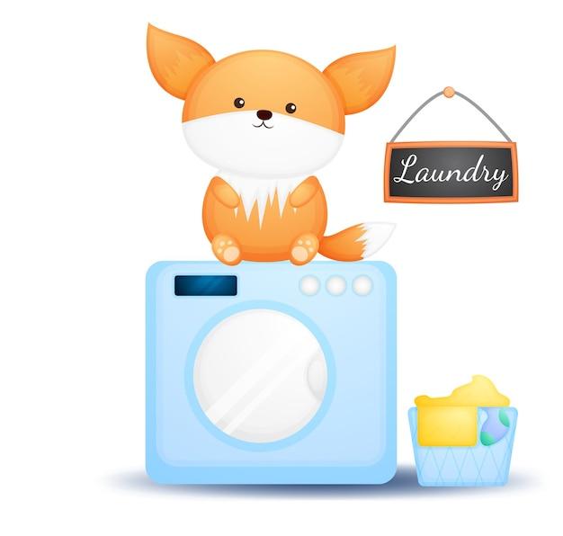 Doodle fofo bebê raposa sentado na máquina de lavar