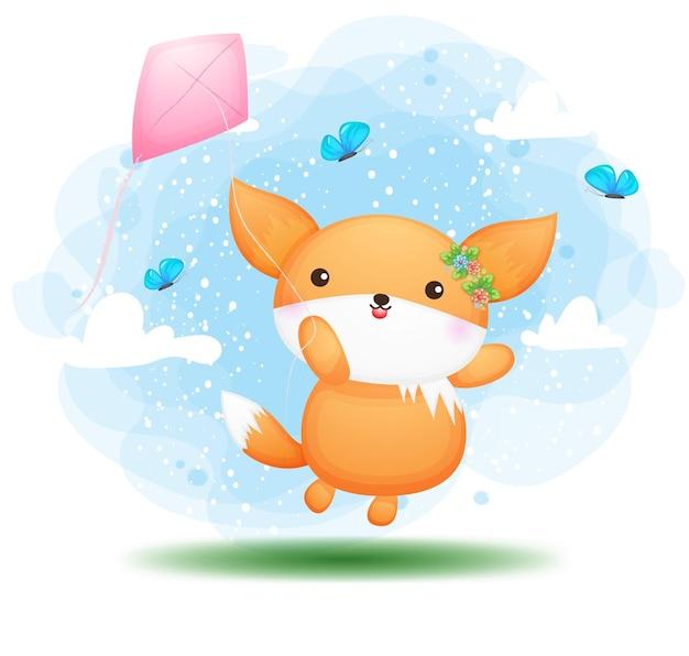 Doodle fofo bebê raposa voando com o personagem de desenho animado de pipas