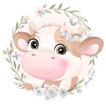 Doodle fofo chá de bebê de vaca com ilustração em aquarela