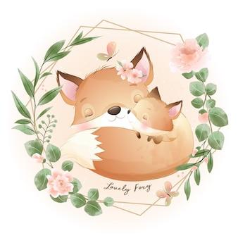 Doodle fofo com ilustração floral