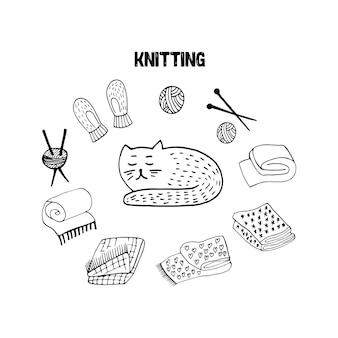 Doodle fofo com luvas de lã para gato scandi, tricô, ilustração vetorial desenhada à mão