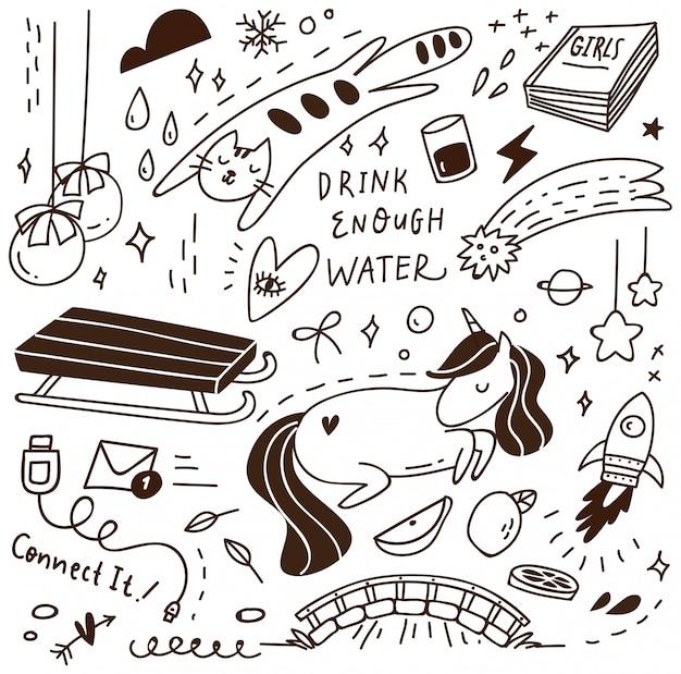 Doodle fofo com mistura de vários objetos