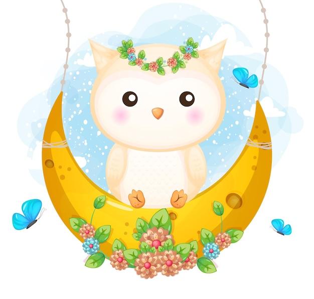 Doodle fofo coruja sentada na lua com flores