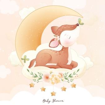 Doodle fofo de cervo com ilustração em aquarela