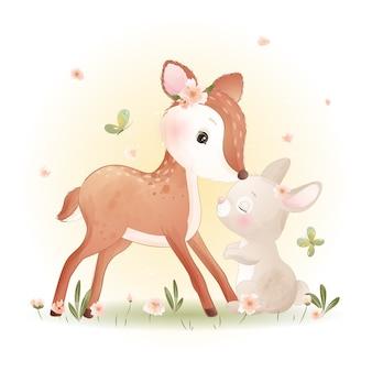 Doodle fofo de cervo e coelhinho com ilustração floral