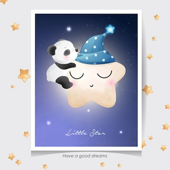 Doodle fofo de panda com ilustração em aquarela