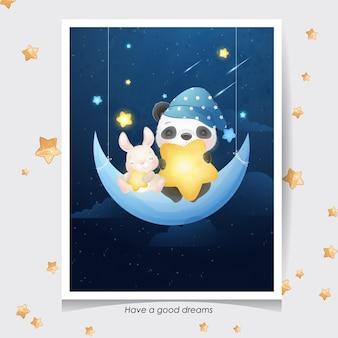 Doodle fofo de panda e coelhinho com ilustração em aquarela