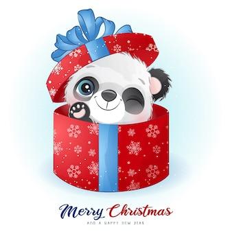 Doodle fofo de panda para o dia de natal com ilustração em aquarela Vetor Premium