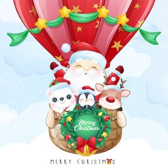 Doodle fofo de papai noel e amigo voando com ilustração de balão de ar