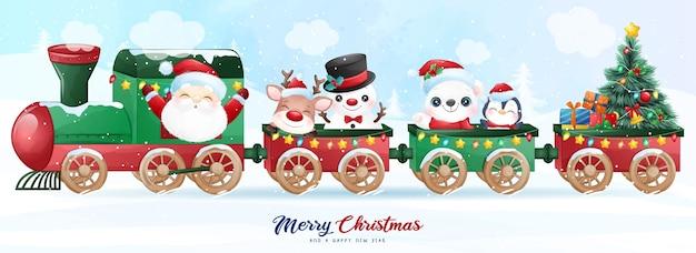 Doodle fofo de papai noel e amigos sentados no trem para ilustração do dia de natal