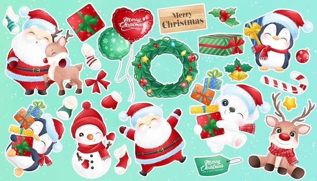Doodle fofo de papai noel e animal para coleção de adesivos para o dia de natal
