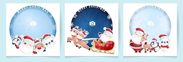 Doodle fofo de papai noel e animal para o dia de natal com coleção de moldura de foto