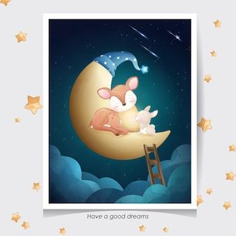 Doodle fofo de veado e coelhinho com ilustração em aquarela