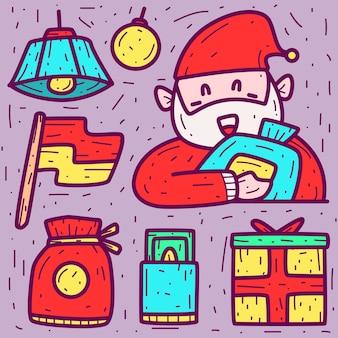 Doodle fofo desenho animado dia de natal