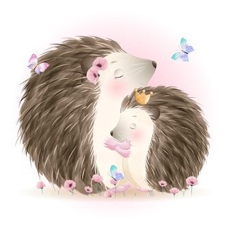 Doodle fofo, mãe ouriço e bebê com ilustração em aquarela