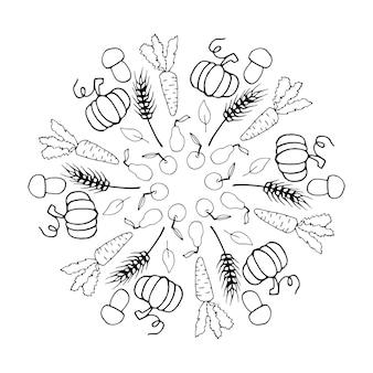 Doodle fofo mandala de outono com folhas, cogumelos, cestas, abóboras em fundo branco