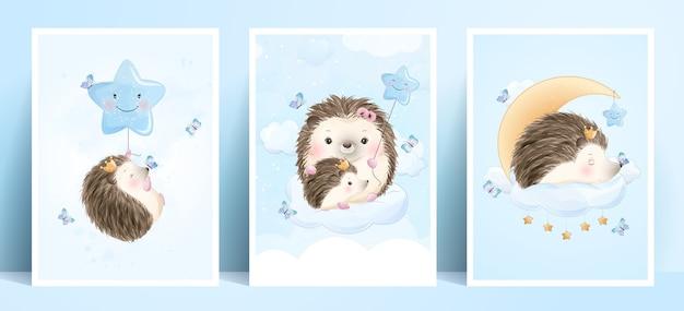 Doodle fofo ouriço com ilustração em aquarela