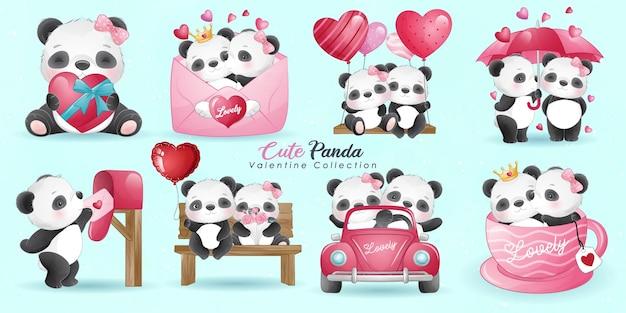 Doodle fofo panda com coleção de poses