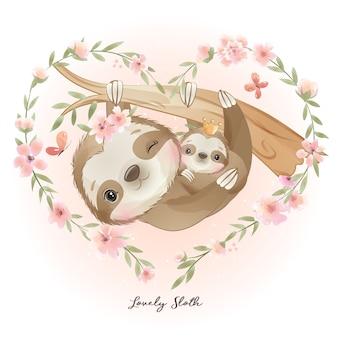 Doodle fofo - preguiça com ilustração floral