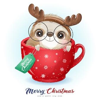 Doodle fofo - preguiça para o dia de natal com ilustração em aquarela