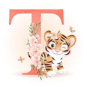 Doodle fofo tigre com ilustração do alfabeto em aquarela