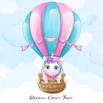 Doodle fofo unicórnio voando com ilustração de balão de ar