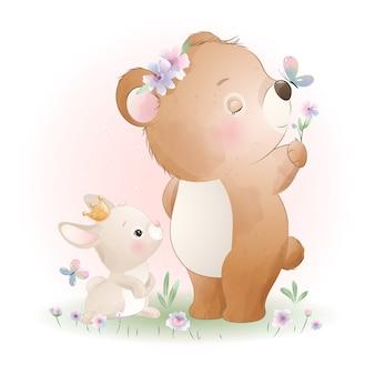 Doodle fofo urso com ilustração de coelhinho
