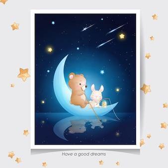 Doodle fofo urso e coelhinho com ilustração em aquarela