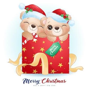 Doodle fofo urso para o dia de natal com ilustração em aquarela