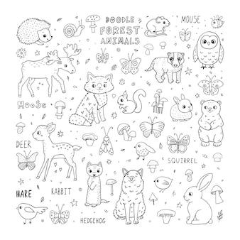 Doodle fofos animais da floresta personagens de desenhos animados e letras