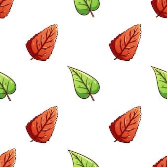 Doodle folhas de outono coloridas sem costura de fundo