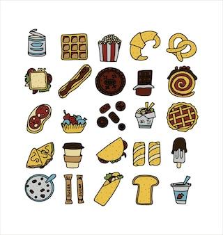 Doodle food conjunto de produtos fastfood um grande conjunto de ilustrações de desenhos animados de alimentos